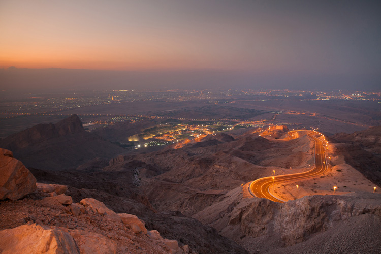 View to Al Ain from Jebel Hafeet mountain just after sunset