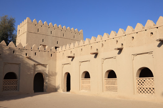 Middle Eastern fort wall in Al Ain called Al Jahili