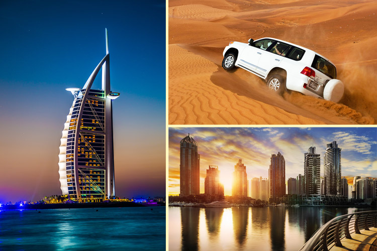 Collage of Burj Al Arab, desert safari and Dubai skyline