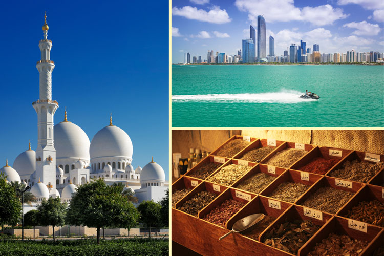 Collage made of Sheikh Zayed Grand Mosque, Abu Dhabi skyline and spices in the market
