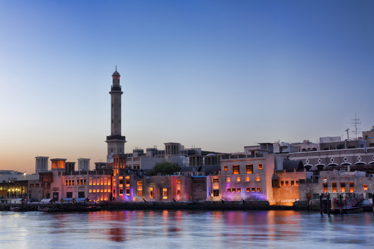 Evening image of the minaret in Old town Dubai