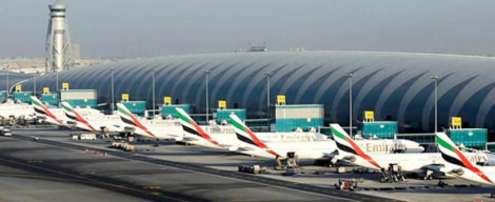 Dubai airport showing planes from Emirates airline