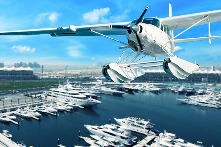 Hydroplane flies above marina in Abu Dhabi