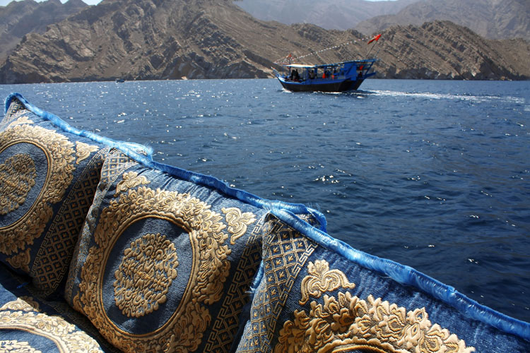 Traditional wooden boats on the fjords near Oman