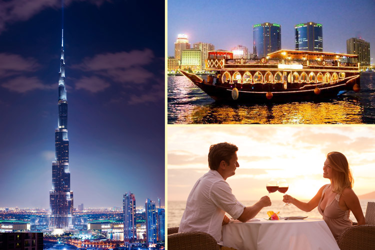 Collage made of Burj Khalifa, Dhow cruise and a couple having romantic dinner