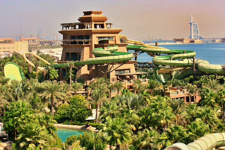 Amusement park in Dubai with palm trees and water slides