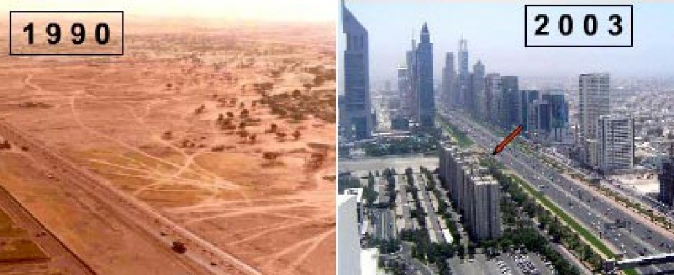 A picture of Dubai from 1990 showing no tall buildings and another taken at the same spot in 2003 with skyscrapers everywhere