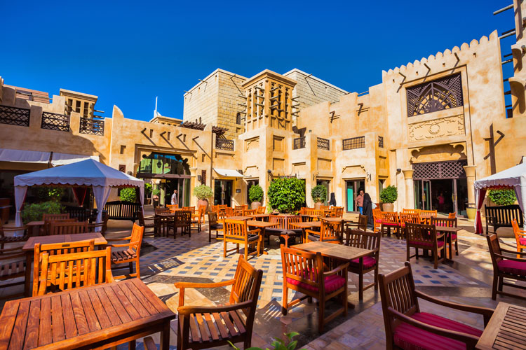 Inner yard in Medinat Jumeirah resort with restaurant