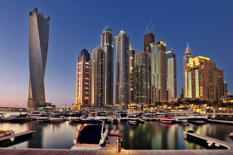 Skyscrapers and yacht harbor at the Marina in Dubai
