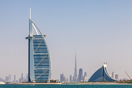 Two hotels by the beach in Dubai