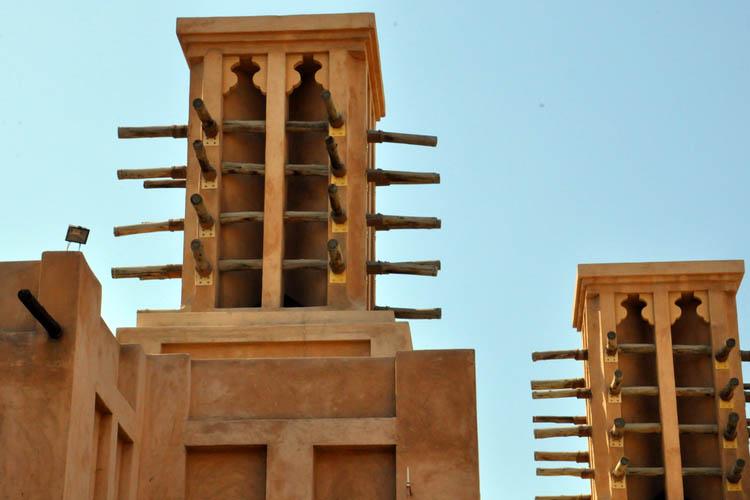 Closeup of windtowers in Dubai