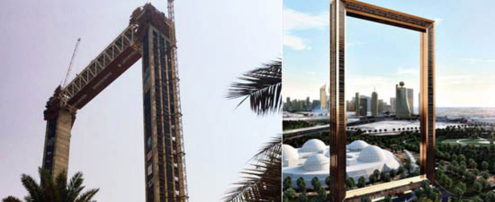 Photos of the construction of Dubai Frame